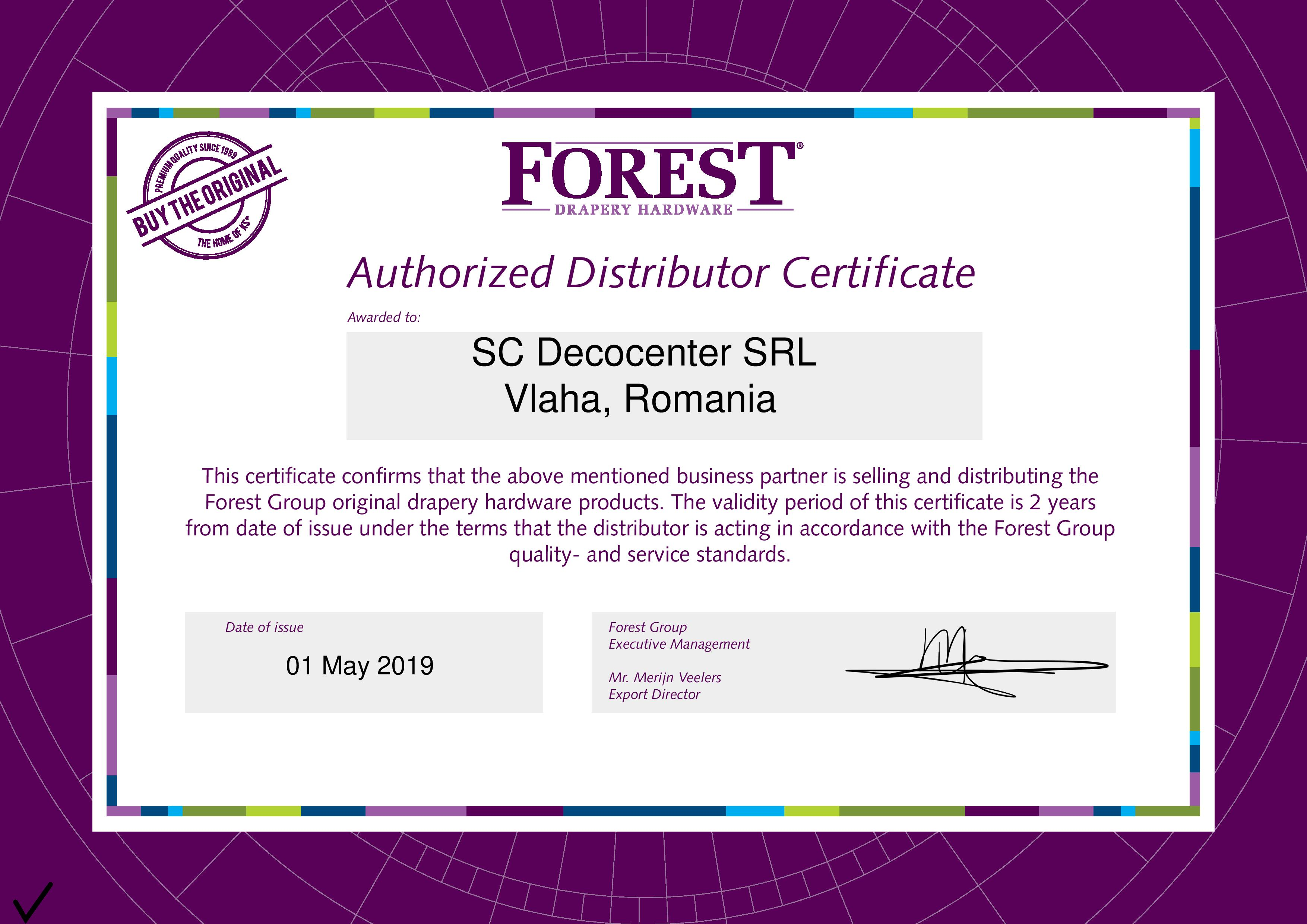 Forest distributor certificate 2019 for Deco Center